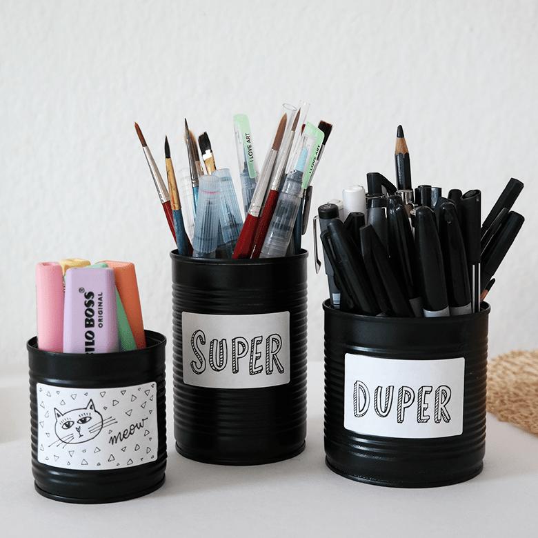 DIY Stiftebecher aus Konservendosen mit Labels