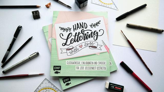 """Ein Bild vom Lettering Buch """"handlettering with love"""" hand lettering mit Liebe vom emf verlag mit Martina Johanna, Sophie Lichtensteiger und Verena Prechsl"""