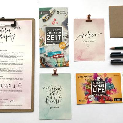 Lettering Workshop auf der Trauzeit und Kreativzeit in Bremen. Teaser Bild mit Letterings