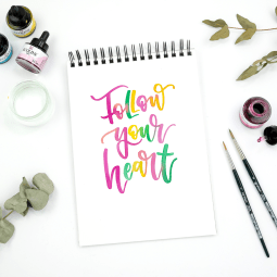 Follow your heart // Watercolor Lettering by Martina Johanna