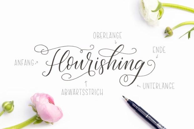 Flourishing Lettering, Lettern mit Schnörkeln Anleitung