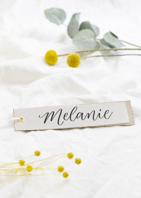 Elegantes Namensschild selber machen. Idee Nummer 3
