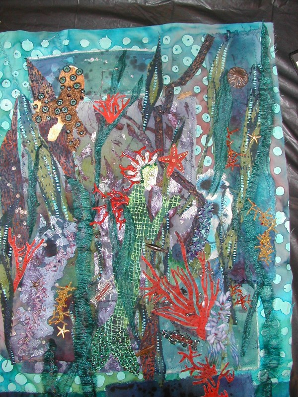 Seascape Fabric Mosaic Nan Kirby Lettering Art Studio