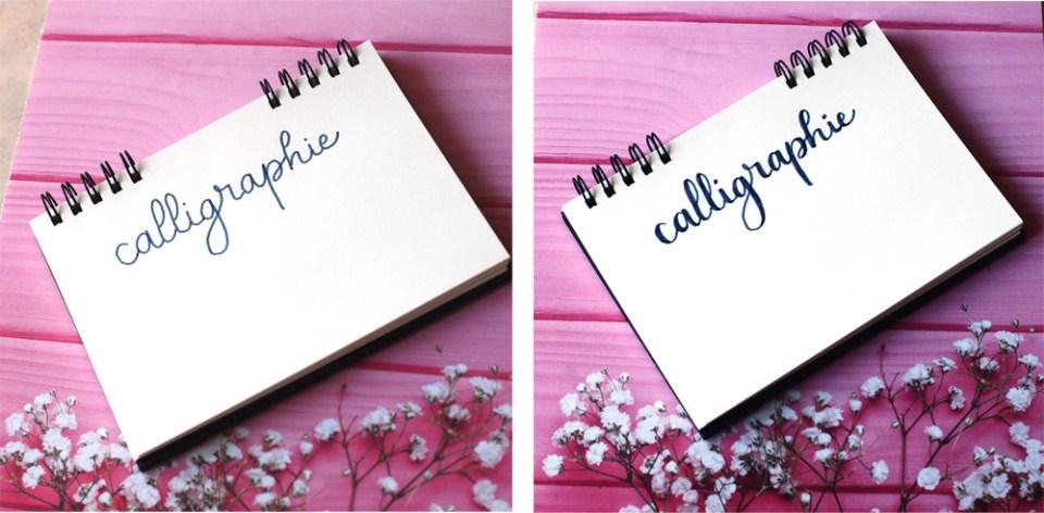 le mot calligraphie en fausse calligraphie