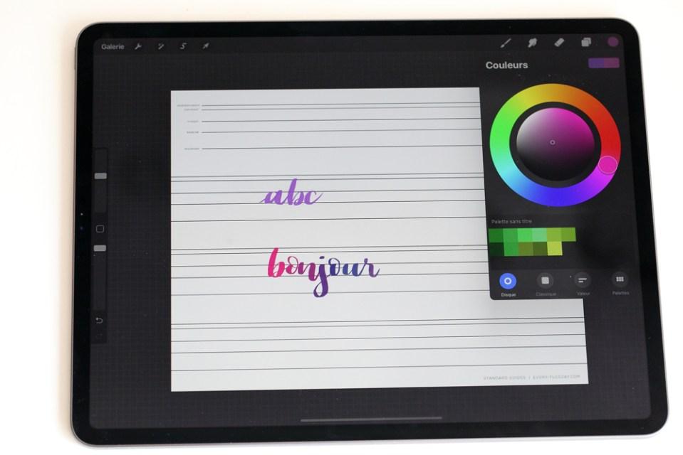 la roue des couleurs sur iPad et Procreate