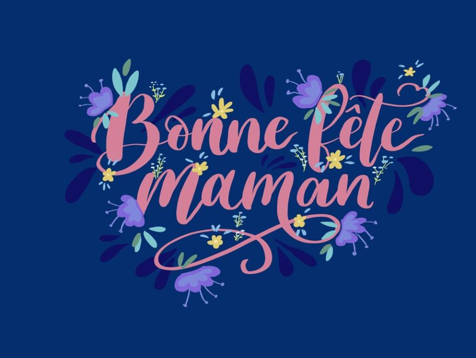 Bonne Fête Maman en lettering fleuri sur iPad