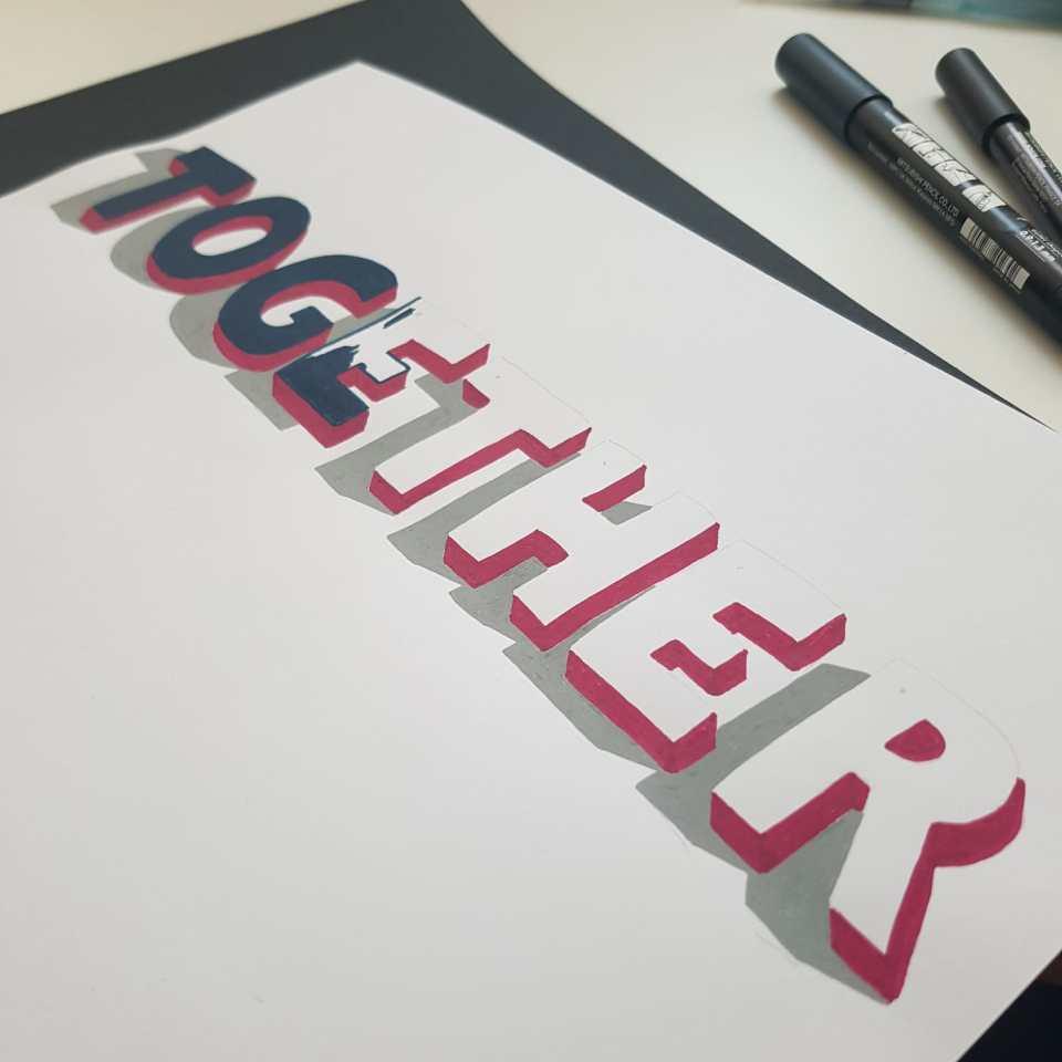 together en lettering 3D