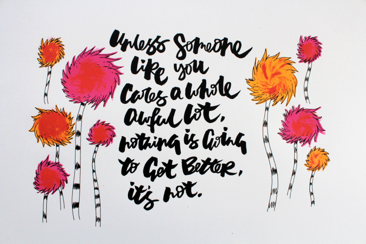 Emma Holmes Lorax Screenprint - Lettering Tutorial