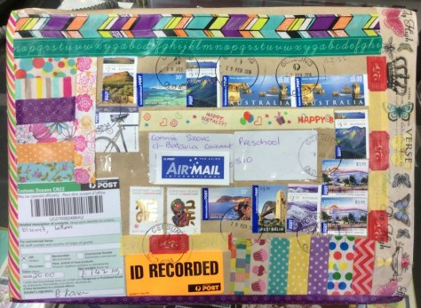 Package sent to students with many stamps