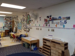Postcards in the classroom - wide shot of the whole postcard display
