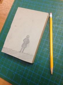 Pencil sketch on the linoleum
