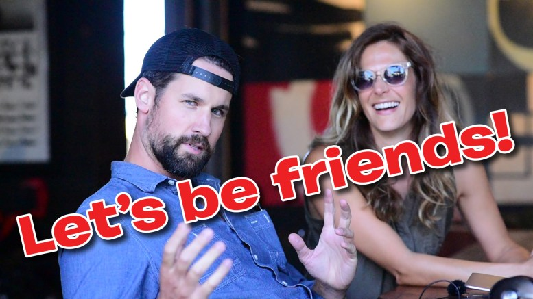 "Clancy & Lauren at Deus Ex Machina in Venice, CA, with the superimposed text ""Let's be friends!"""