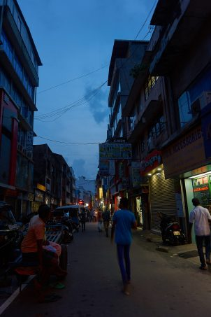 the district of Pettah, Colombo, by nighttime