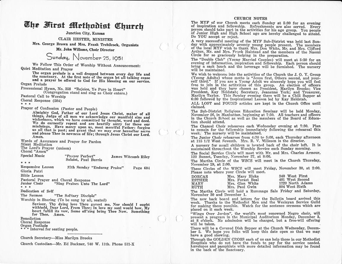 Church Bulletins Letters Home From Korea
