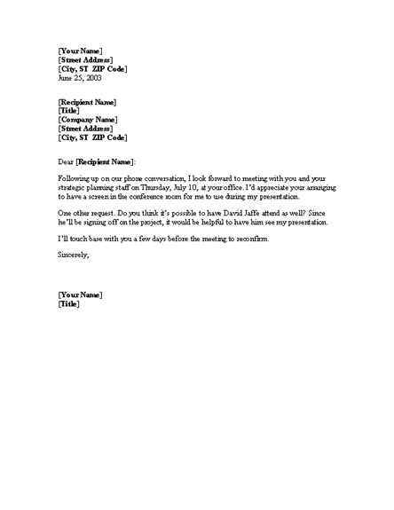 Confirmation Of Meeting Letter Templates Download