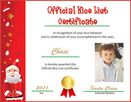 printable nice list certificate with photo