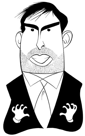 "Weird ass illustration of Chris Weitz doing ""tune in Tokyo"" on the Hollywood Reporter"