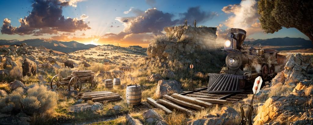 """""""Westward"""", une nouvelle illustration commémorant le 150e anniversaire de la Transcontinental Railroad - achevée au Promontory Summit dans l'Utah en 1869. Commandée par Utah Arts & Museums, cette image a été largement exposée dans le cadre de la célébration Spike150 dans tout l'État visant à inspirer, éduquer, et réfléchissez à l'héritage du chemin de fer Transcontinental. Pour cette pièce, je voulais recréer une scène du vieil ouest, en imaginant la grande réalisation du chemin de fer ouvrant ce vaste nouveau terrain. Mon objectif avec cette image était de montrer le sentiment de crainte et d'émerveillement pendant cette période, en imaginant un paysage de formations rocheuses monumentales et de vastes étendues parcourues par des troupeaux de bisons. Avec ce projet, j'ai été très inspiré par les premiers artistes occidentaux comme Albert Bierstadt et Thomas Moran dont le travail résume vraiment l'idée de «l'Occident comme terre promise, luxuriante de merveilles naturelles magnifiques et mûr pour le développement». Ma pièce «Westward» illustre ce concept de Manifest Destiny, ouvrant la voie à la civilisation occidentale dans le nouveau monde. Nick Pedersen"""