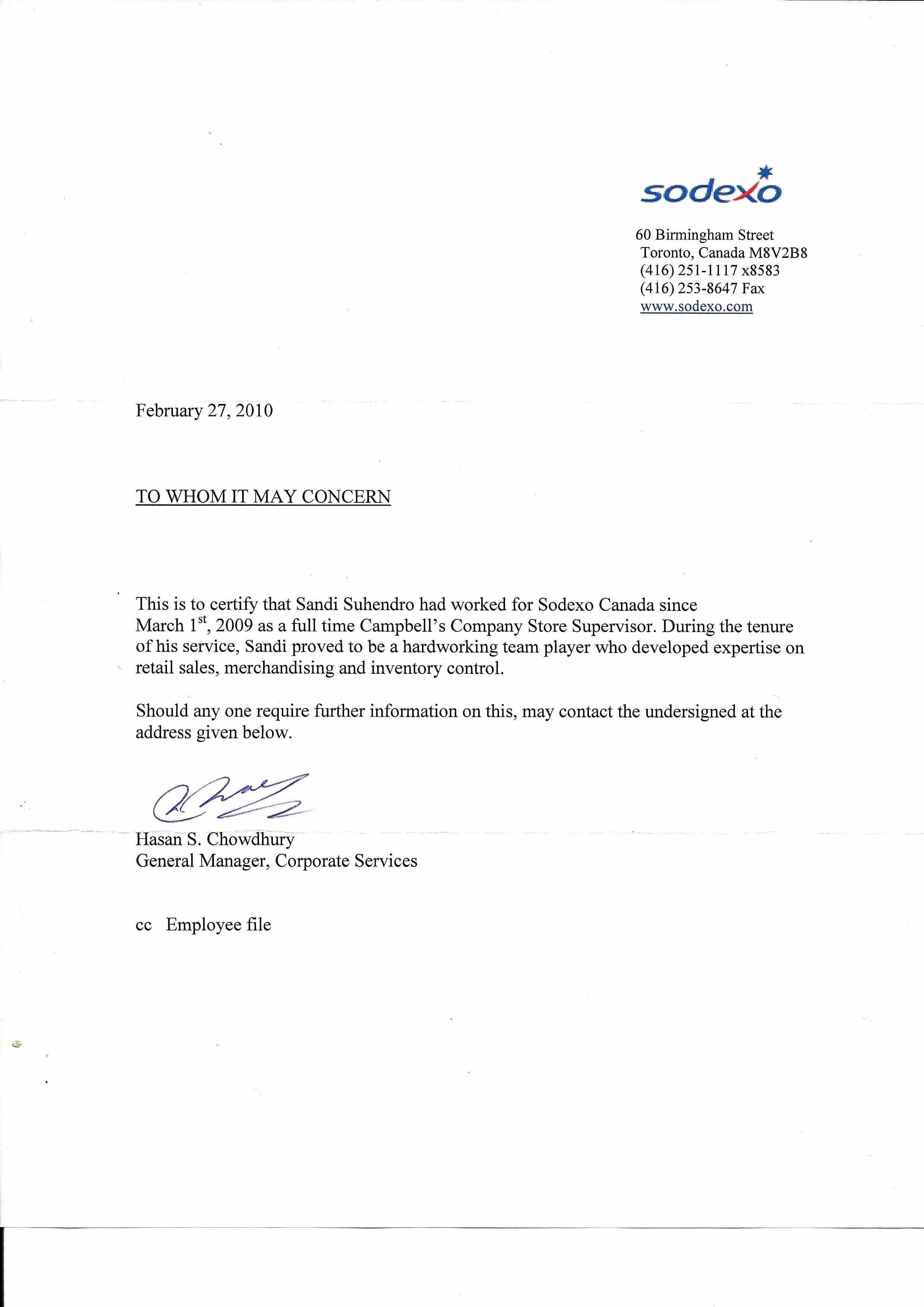 address proof letter