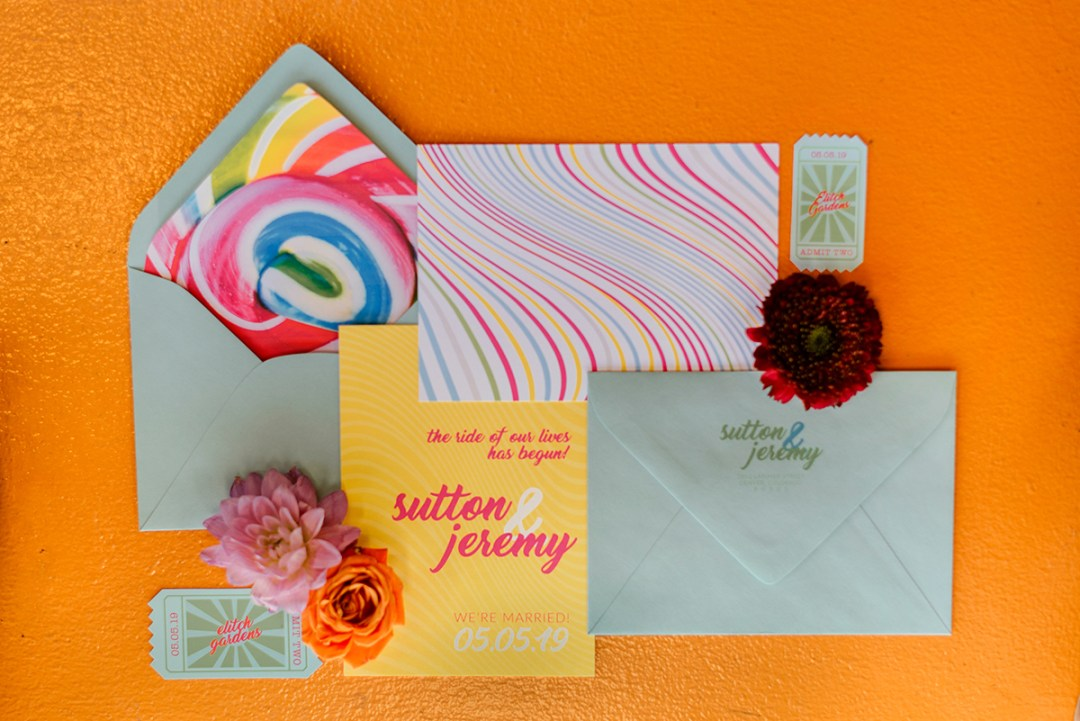 colorful unique wedding invitations and elopement announcements