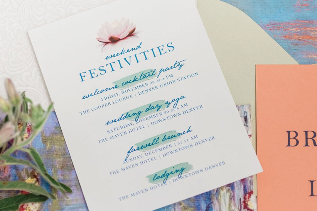 Example of a details card for a wedding invitation