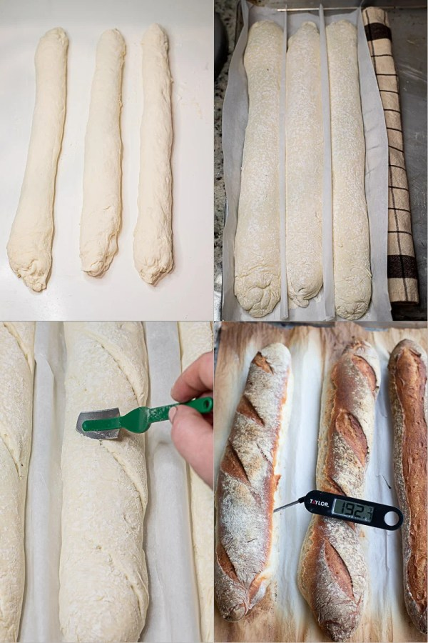 Baguettes from being shaped, to being baked (step by step pictures).