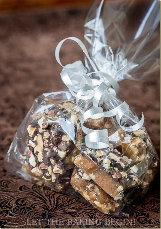 Toffee crunch in a party bag with a white ribbon.