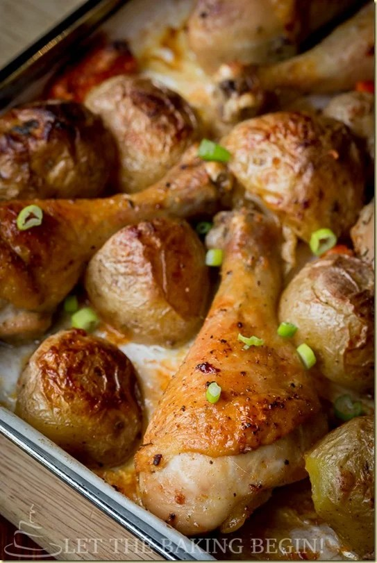 One Pan Meal ofBaked Chicken Drumsticks and Potatoes is all made on one sheet pan with carrots, which makes dinner prep a breeze. Chicken drumsticks are baked with garlic, paprika and olive oil. Comforting 'Meat & Potatoes' dinner that takes only 10 minutes of prep, and is all done in one baking dish? Win-win