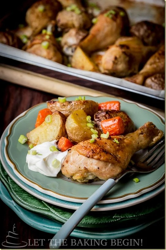 One Pan Meal of Baked Chicken Drumsticks and Potatoes is all made on one sheet pan with carrots, which makes dinner prep a breeze. Chicken drumsticks are baked with garlic, paprika and olive oil. Comforting 'Meat & Potatoes' dinner that takes only 10 minutes of prep, and is all done in one baking dish? Win-win