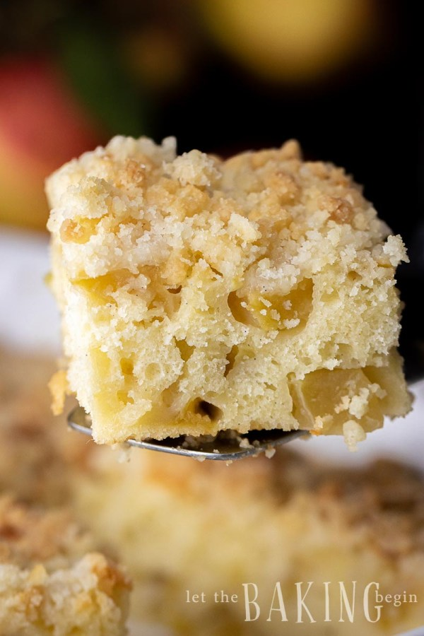 Apple Coffee Cake closeup with chunks of apples visible in the cake and crunchy streusel topping on top.