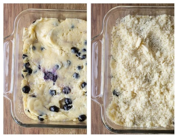 How to fill a dish with batter and spread it around into an even layer and sprinkle streusel topping on top.