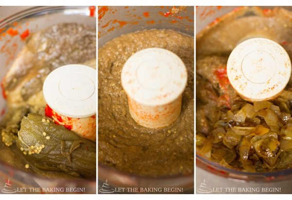 How to mix eggplant and onion in a food processor and process until smooth.