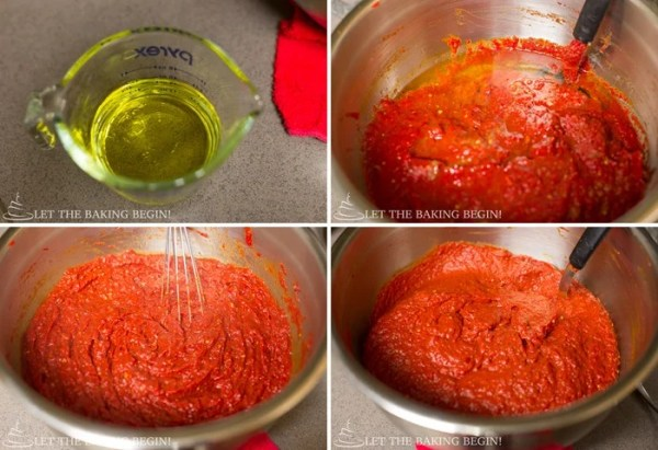 How to add oil and vinegar and stir everything together in a larger bowl.