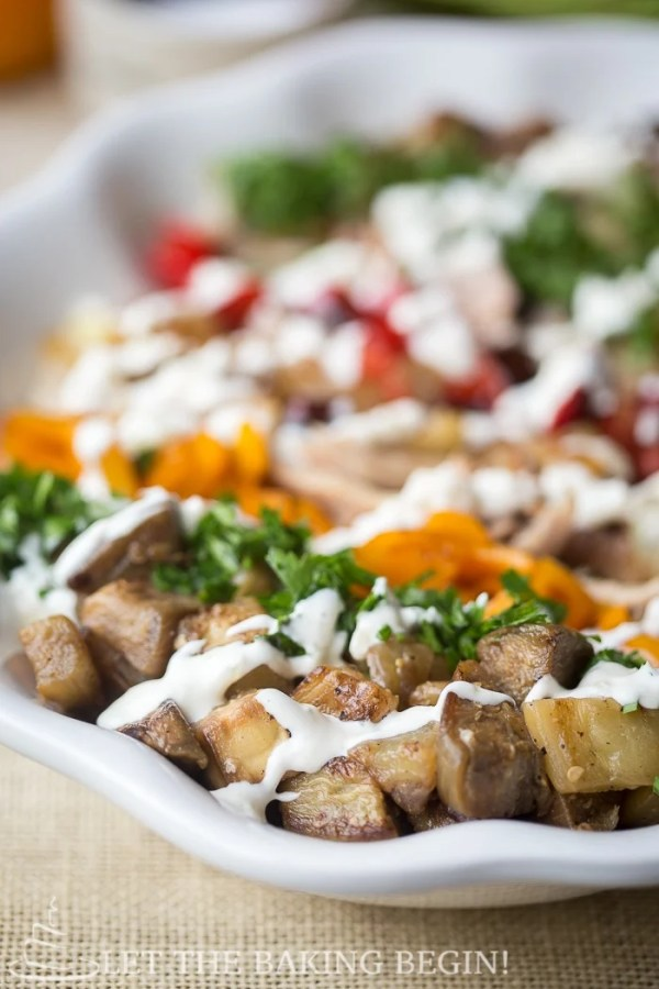 Eggplant Chicken Pepper Salad is a colorful fall salad bursting with flavors of eggplant, pepper and some chicken to make it more filling. The garlic dressing is the perfect thing to bring all of those flavors together. You're going to love this combo!
