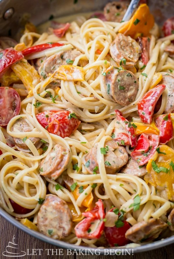 Sausage Pepper Fettuccine Skillet simple and delicious sausage and peppers pasta.