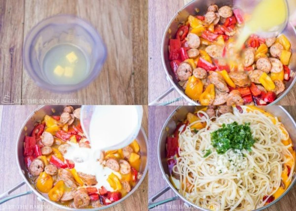 Step by step pictures for sausage pasta recipe.