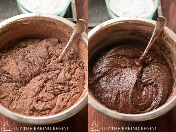 How to add melted chocolate to the mixture until well combined.