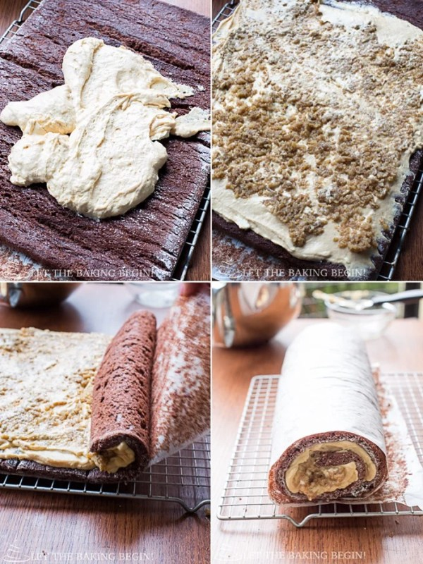 How to unroll the cake and spread frosting around into an even layer and then top with walnuts. Finally, roll up cake.