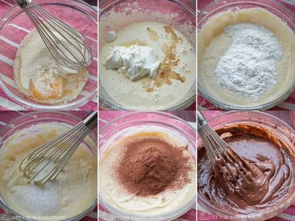 How to add all ingredients to make chocolate cake with a whisk.