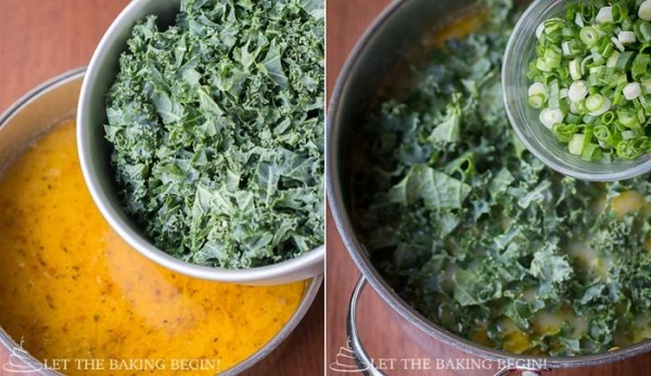 Mixing in the green kale and greens into the hearty zuppa Toscana soup.
