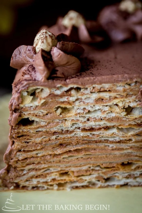 A close-up slice of this delicious Mikado layer cake.