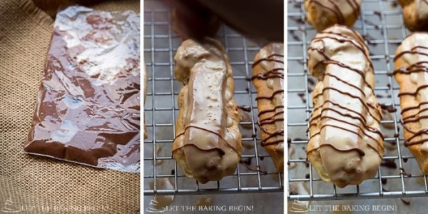 How to top the maple glazed coffee eclairs with the homemade chocolate drizzle.