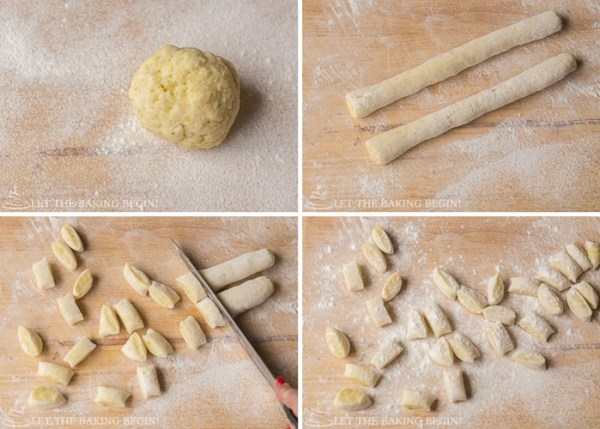 Step by step directions for how to make gnocchi into the right shape.