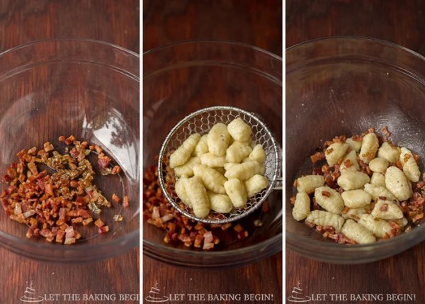 Gnocchi with bacon and caramelized onion