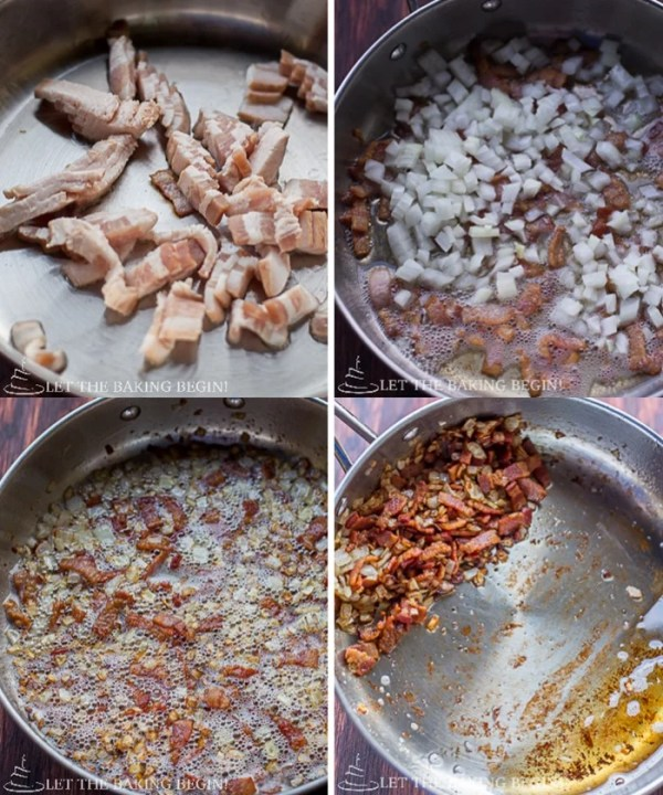 Images showing how to make gnocchi with bacon & caramelized onion