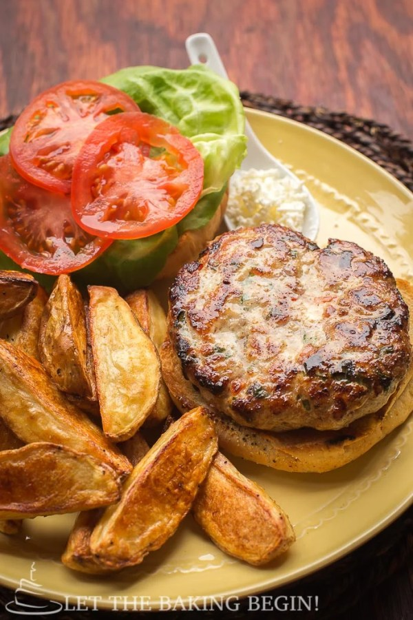 Chicken Feta Burger, homemade, delicious , and incredibly easy to make! by @Letthebakingbgn   LetTheBakingBeginBlog.com