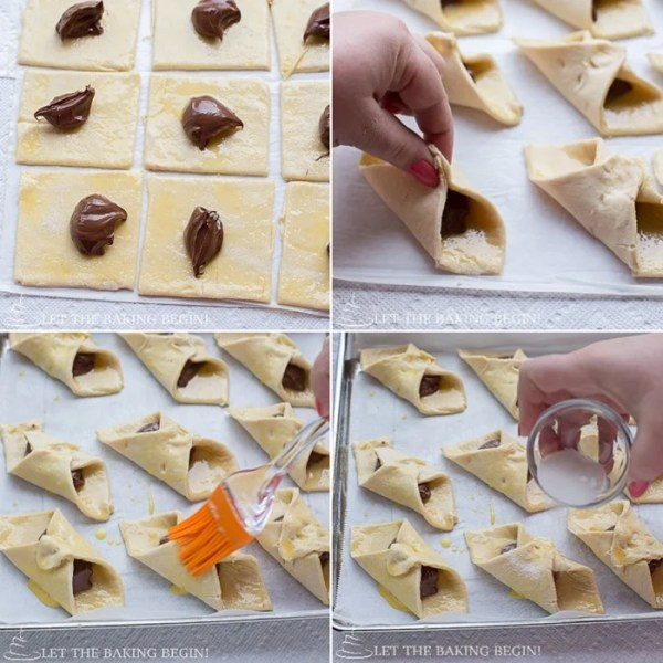 How to assemble the Nutella puff pastry Danishes and topping with coarse sugar.