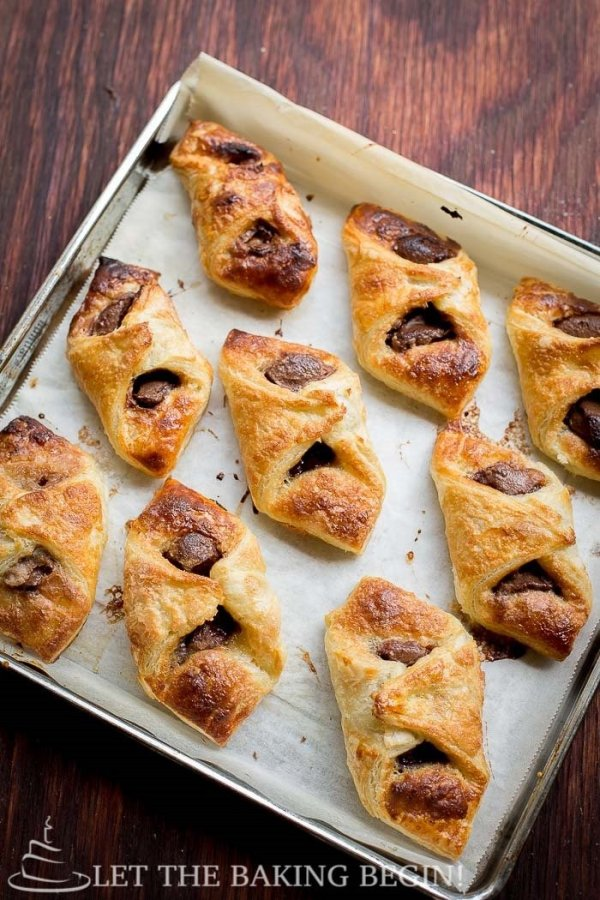 Nutella Puff Pastry Danish baked and out of the oven in a pan. A great puff pastry recipe.