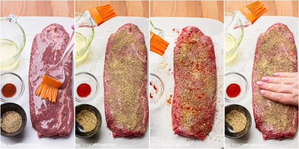 How to prepare steak with dry ingredients and olive oil.