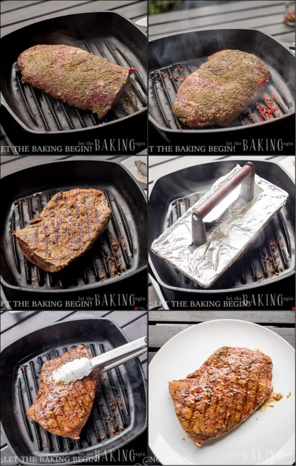 Grill Pan Flat Iron Steak - Delicious, juicy steak with no grill- No problem! As long as you have a skillet or a grill pan you're good! | LetTheBakingBeginBlog.com | @Letthebakingbgn